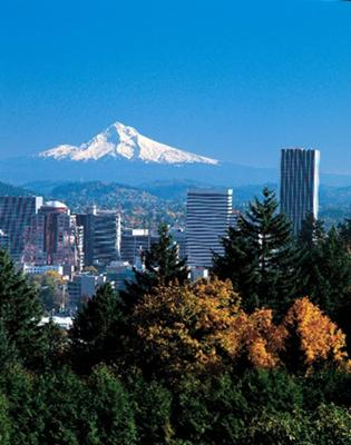 Portland, OR with Mt. Hood Skyline