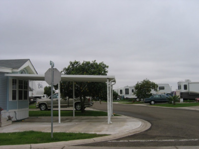 an rv/park model compound with Rvs and park models